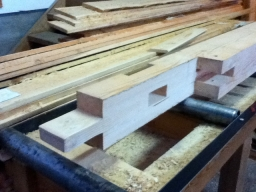 A traditional scarf joint that allows us to join two timbers into a longer plate